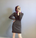 Dress Autumn 2020 black S,M,L Short skirt singleton  Long sleeves commute V-neck High waist Socket A-line skirt routine 25-29 years old Type A 51% (inclusive) - 70% (inclusive) knitting