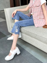 Jeans Spring 2021 blue 26,27,28,29,30,31 trousers High waist Straight pants routine 30-34 years old other Dark color Other / other 51% (inclusive) - 70% (inclusive)