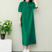 Women's large Summer of 2019 blackish green Average size (pro, arrival ~) Dress singleton  commute easy Socket Short sleeve Solid color literature Polo collar Medium length cotton routine mmsy2019052616 96% and above