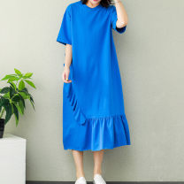 Women's large Summer of 2019 Blue, black Big size average Dress singleton  commute easy Short sleeve Solid color literature Crew neck Medium length cotton routine 96% and above