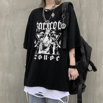 T-shirt Youth fashion black routine M,L,XL Others Short sleeve Crew neck easy daily summer Z2016 Cotton 57% polyester 37% polyurethane elastane 6% teenagers Off shoulder sleeve tide 2020 other Non brand