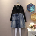 Dress Autumn 2020 blue L,XL,2XL,3XL,4XL,5XL Mid length dress singleton  Long sleeves commute Hood Loose waist other Socket One pace skirt routine Others 25-29 years old Type A Korean version 30% and below other polyester fiber