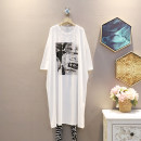 Dress Summer 2021 White, gray, blue, navy Average size Mid length dress singleton  Short sleeve commute Crew neck Loose waist other Socket A-line skirt routine 25-29 years old Korean version 30% and below other polyester fiber