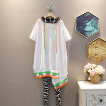 Dress Summer 2021 White, black Average size Mid length dress singleton  Short sleeve commute Hood Loose waist other Socket A-line skirt routine Others 25-29 years old Type A Korean version 30% and below brocade polyester fiber