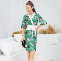 Dress Summer 2020 Black, green S,M,L,XL Mid length dress singleton  elbow sleeve street V-neck High waist Decor zipper One pace skirt routine Others 18-24 years old Type H Stitching, asymmetry, zipper, printing 20031660GTAI6057 81% (inclusive) - 90% (inclusive) Europe and America