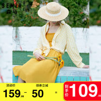 Dress Summer 2020 Green white grid d0441 red white grid d0461 yellow white grid d0431 150/76A/XS 155/80A/S 160/84A/M 165/88A/L Mid length dress singleton  Long sleeves commute square neck middle-waisted lattice Socket other other camisole 18-24 years old Type A Semir / SEMA Korean version Button