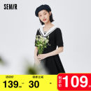 Dress Summer 2021 Black 9000 150/76A/XS 155/80A/S 160/84A/M 165/88A/L 170/92A/XL 175/96A/XXL Mid length dress singleton  Short sleeve commute Admiral middle-waisted letter Socket A-line skirt 18-24 years old Type A Semir / SEMA Simplicity Bow button 10-9321114029 More than 95% cotton Cotton 100%