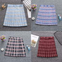 skirt Autumn of 2019 S,M,L,XL Light blue platinum plaid skirt (48CM in length), Dousha red yellow plaid skirt (48CM in length), Heijian red apricot plaid skirt (48CM in length), Niulan red plaid skirt (48CM in length) Short skirt Sweet High waist Pleated skirt lattice 18-24 years old P-041 cotton