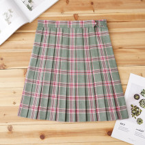 skirt Autumn of 2019 S,M,L,XL Big green room red plaid skirt Short skirt Sweet High waist Pleated skirt lattice 18-24 years old J-044 71% (inclusive) - 80% (inclusive) cotton solar system