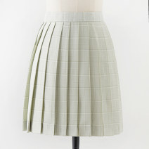 skirt Summer 2020 S,M,L,XL Green fruit 43cm skirt Short skirt Sweet High waist Pleated skirt lattice 18-24 years old L-034 71% (inclusive) - 80% (inclusive) cotton solar system