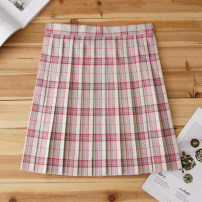 skirt Summer of 2019 S,M,L,XL Jujube white checked skirt Short skirt Sweet High waist Pleated skirt lattice 18-24 years old Q-043 71% (inclusive) - 80% (inclusive) cotton solar system
