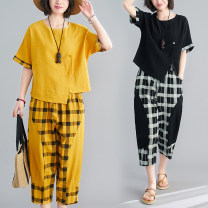 Middle aged and old women's wear Summer 2020 Red bottom grid, yellow bottom grid, black bottom grid M [recommended below 115 kg], l [recommended 115-130 kg], XL [recommended 130-145 kg], XXL [recommended 145-160 kg] leisure time easy Two piece set lattice 40-49 years old Socket Crew neck routine