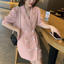 Dress Spring 2021 Black, white, pink M, L longuette singleton  Long sleeves commute Crew neck High waist Solid color double-breasted A-line skirt routine 25-29 years old Type A Button, lace up, stitching polyester fiber