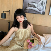 Dress Summer 2020 Champagne gold S,M,L Mid length dress singleton  Sleeveless commute other Loose waist Socket A-line skirt camisole 25-29 years old Type A Simplicity Embroidery 71% (inclusive) - 80% (inclusive) other polyester fiber