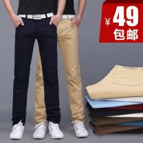 Casual pants Others Youth fashion 28,29,30,31,32,33,34,36,38 routine trousers Other leisure Self cultivation No bullet winter youth Business Casual 2016 middle-waisted Straight cylinder Cotton 93.8% regenerated cellulose fiber 6.2% Pocket decoration washing Solid color Khaki cotton cotton