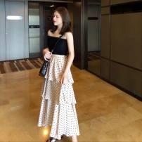 skirt Summer of 2018 Average size Mid length dress Cake skirt Dot