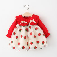Dress Pink strawberry Polka skirt, red strawberry Polka skirt, pink cherry PP suit female Sugar at lip 66cm,73cm,80cm,85cm,90cm,95cm,100cm Cotton 95% other 5% spring and autumn Korean version Long sleeves cotton Fluffy skirt Strawberry mesh dress Class A Chinese Mainland
