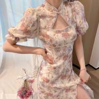 Dress Summer 2021 Cheongsam dress short [with original hairband], cheongsam dress long [with original hairband] S,M,L,XL Mid length dress singleton  Short sleeve commute Others Korean version 51% (inclusive) - 70% (inclusive)