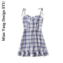 Dress Summer 2020 Sunset yellow, dream blue, peach pink S,M,L Short skirt singleton  commute High waist lattice A-line skirt camisole 18-24 years old Type A Retro