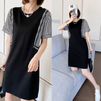 Dress Summer 2021 black M,L,XL,2XL,3XL Middle-skirt Fake two pieces Short sleeve commute Crew neck Loose waist stripe Socket One pace skirt routine Others 25-29 years old Type H Ou Mingyi Korean version Pleating, stitching, 3D 2555# 71% (inclusive) - 80% (inclusive) knitting cotton