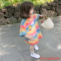 Dress Rainbow Stripe female Other / other 90cm,100cm,110cm,120cm,130cm Other 100% summer fresh Short sleeve stripe other other SC》20.05.20.A4 other Chinese Mainland Guangdong Province Guangzhou City