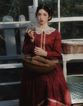 Dress Winter 2020 Red flowers S,M,L Mid length dress singleton  Long sleeves commute Crew neck middle-waisted Decor zipper A-line skirt other Others 25-29 years old Type A Pillow dream Village Retro A0352 More than 95% cotton