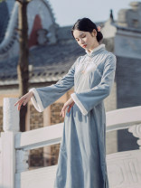 cheongsam Winter 2020 S,M,L wathet Long sleeves long cheongsam Retro Low slit daily Straight front 25-35 years old Embroidery A0263 Pillow dream Village polyester fiber 96% and above