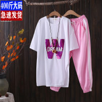 Casual suit Summer 2020 White, black, buy T-shirt, give pants 1 x (140-150 kg), 2 x (160-180 kg), 3 x (190-210 kg), 4 x (220-230 kg) 25-35 years old 81% (inclusive) - 90% (inclusive) cotton