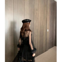 Dress Winter of 2019 black XS,S,M longuette singleton  Long sleeves commute Crew neck High waist zipper Ruffle Skirt routine Type A Flounce, backless, embroidery, Auricularia auricula, splicing, three-dimensional decoration, zipper, lace