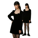 Dress Winter 2020 black S, M Short skirt singleton  Long sleeves Lotus leaf collar High waist Solid color zipper A-line skirt routine Others 18-24 years old Type A More than 95% other cotton