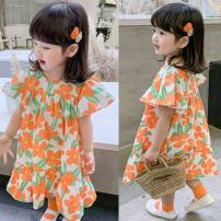 Dress Graph color female Other / other The recommended height is 90cm for size 7, 100cm for size 9, 110cm for size 11, 120cm for size 13 and 130cm for size 15 Other 100% summer Korean version Short sleeve other Lotus leaf edge Class B