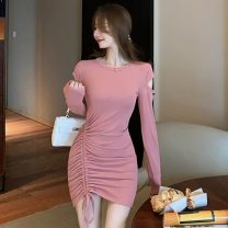 Dress Winter 2020 Pink, black S,M,L,XL Short skirt singleton  Long sleeves commute Crew neck High waist Solid color Socket One pace skirt routine Others Type X Korean version Hollowing out 31% (inclusive) - 50% (inclusive) brocade cotton