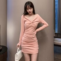 Dress Spring 2021 Pink, black S,M,L Short skirt singleton  Long sleeves commute V-neck High waist Solid color Socket Pencil skirt routine Others Type X Korean version fold 31% (inclusive) - 50% (inclusive) brocade cotton