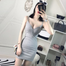 Dress Spring 2021 Gray, black Average size Short skirt singleton  Sleeveless street V-neck High waist Solid color Socket camisole 18-24 years old Type X Other / other Open back, button 51% (inclusive) - 70% (inclusive) brocade cotton Europe and America