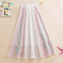 skirt Summer 2020 Average size Pink, light blue longuette commute Natural waist A-line skirt Type A Embroidery ethnic style