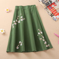 skirt Summer 2020 One size fits all (elastic waist) Middle-skirt Versatile Natural waist A-line skirt Solid color Type A 71% (inclusive) - 80% (inclusive) other hemp Embroidery