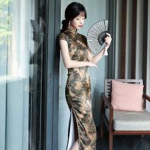 cheongsam Summer 2021 XXL,XXXL,M,L,XL Decor Short sleeve long cheongsam grace High slit daily Oblique lapel Decor 25-35 years old Piping silk 91% (inclusive) - 95% (inclusive)