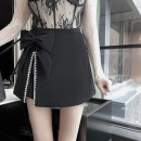 skirt Spring 2021 S,M,L Black, white Short skirt commute High waist A-line skirt Solid color Type A 18-24 years old PP210307 71% (inclusive) - 80% (inclusive) other polyester fiber Diamond inlay