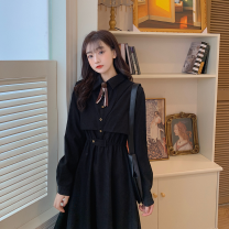 Dress Autumn 2020 Black bow M [85-100 Jin], l [100-120 Jin], XL [120-140 Jin], 2XL [140-160 Jin], 3XL [160-180 Jin], 4XL [180-200 Jin] Mid length dress Two piece set Long sleeves commute Polo collar High waist Solid color Socket A-line skirt shirt sleeve Others 25-29 years old Type A Retro other