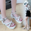 Sandals 35,36,37,38,39 Green, beige PU Emperor swallow Barefoot Muffin bottom Middle heel (3-5cm) Summer 2021 Flat buckle Simplicity Solid color Adhesive shoes Youth (18-40 years old) rubber daily Back space Muffin with , waterproof , Roman style Low Gang Hollow PU PU Roman shoes Shaving