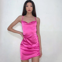 Dress Spring 2021 Rose, champagne, white, green, black S,M,L Short skirt singleton  Sleeveless commute One word collar High waist Solid color Socket Pencil skirt routine camisole 18-24 years old Type H dulzura court backless D0B3838A 91% (inclusive) - 95% (inclusive) other polyester fiber