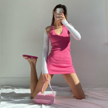 Dress Autumn 2020 rose red S,M,L Short skirt Two piece set Long sleeves commute V-neck High waist Solid color Socket One pace skirt routine Hanging neck style 18-24 years old Type H dulzura Simplicity backless 81% (inclusive) - 90% (inclusive) other polyester fiber