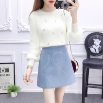 Fashion suit Winter 2020 S. M, l, average size White sweater + blue skirt, white sweater + pink skirt, unit price white sweater, single blue skirt, single pink skirt 18-25 years old 71% (inclusive) - 80% (inclusive)