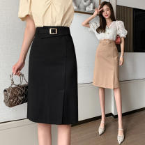 skirt Spring 2021 S,M,L,XL Black, khaki Mid length dress commute High waist skirt Solid color Type H 18-24 years old H 31% (inclusive) - 50% (inclusive) other Three dimensional decoration, asymmetry, splicing Korean version