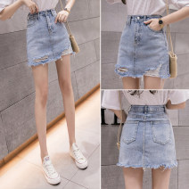 skirt Summer 2021 S,M,L,XL Light blue, white Short skirt commute High waist A-line skirt Solid color 18-24 years old H 31% (inclusive) - 50% (inclusive) other pocket Korean version