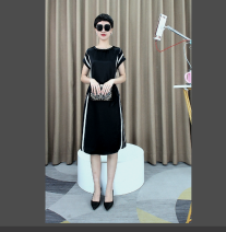 Dress Spring 2021 black S,M,L,XL Middle-skirt Short sleeve commute Solid color Socket routine 30-34 years old Printing, one piece More than 95% cotton