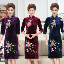 cheongsam Fall 2017 other long cheongsam ethnic style Low slit Square placket other Embroidery other