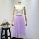skirt Spring 2020 Average size White can not be soaked for a long time, purple can not be soaked for a long time Mid length dress commute High waist Pleated skirt Type A 18-24 years old L9018 51% (inclusive) - 70% (inclusive) Gauze Korean version