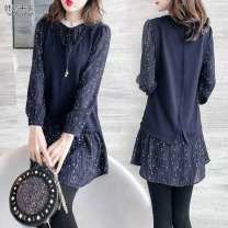 Dress Spring 2020 navy blue S,M,L,XL,2XL,3XL Mid length dress Fake two pieces Long sleeves Tagkita / she and others bow