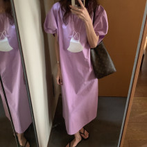 Dress Summer 2021 White, purple, black Average size Mid length dress singleton  Short sleeve commute Crew neck High waist Solid color other Others 18-24 years old Type A Korean version cotton